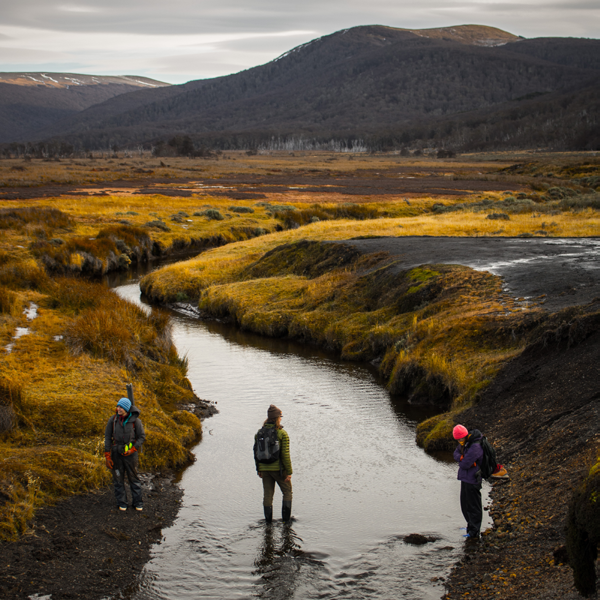 Students standing in a mountain range next to a stream
